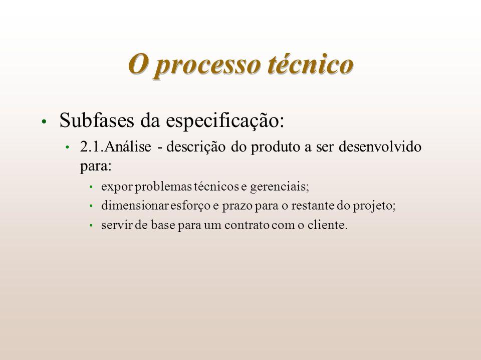 O processo técnico Subfases da especificação: 2.1.Análise - descrição do produto a ser desenvolvido para: expor problemas técnicos e gerenciais; dimen