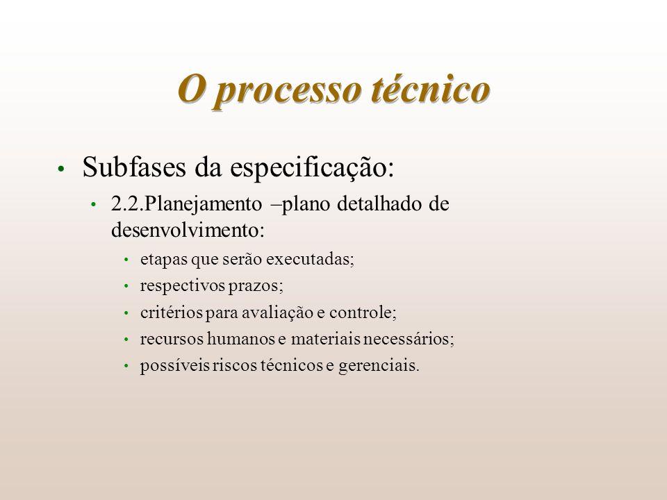 O processo técnico Subfases da especificação: 2.2.Planejamento –plano detalhado de desenvolvimento: etapas que serão executadas; respectivos prazos; c