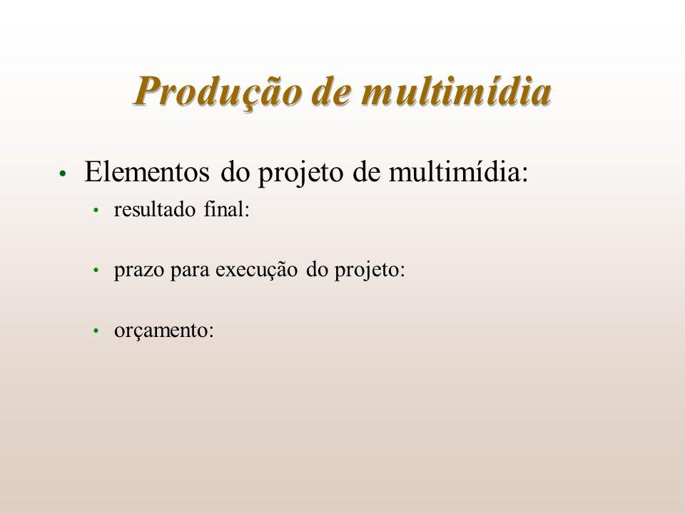 Produção de multimídia Elementos do projeto de multimídia: resultado final: prazo para execução do projeto: orçamento: