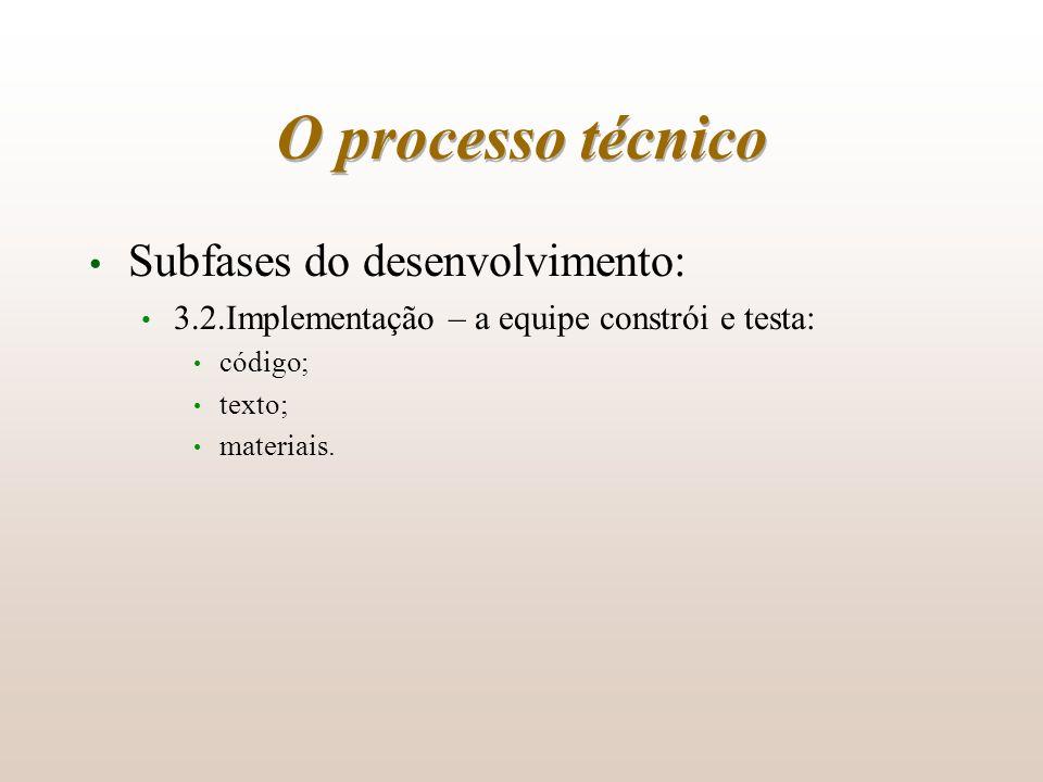 O processo técnico Subfases do desenvolvimento: 3.2.Implementação – a equipe constrói e testa: código; texto; materiais.