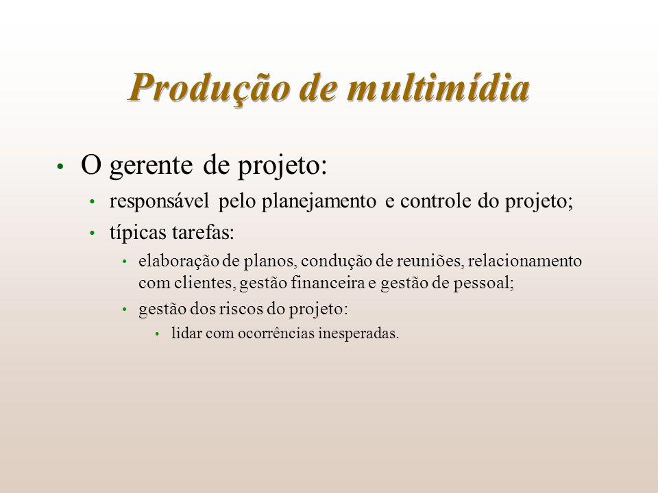 Produção de multimídia O gerente de projeto: responsável pelo planejamento e controle do projeto; típicas tarefas: elaboração de planos, condução de r