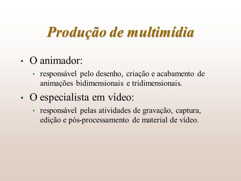 Produção de multimídia O animador: responsável pelo desenho, criação e acabamento de animações bidimensionais e tridimensionais. O especialista em víd