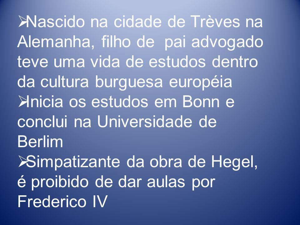 Nascido na cidade de Trèves na Alemanha, filho de pai advogado teve uma vida de estudos dentro da cultura burguesa européia Inicia os estudos em Bonn e conclui na Universidade de Berlim Simpatizante da obra de Hegel, é proibido de dar aulas por Frederico IV