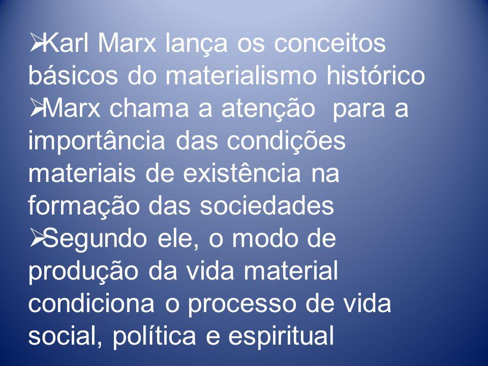 Karl Marx lança os conceitos básicos do materialismo histórico Marx chama a atenção para a importância das condições materiais de existência na formação das sociedades Segundo ele, o modo de produção da vida material condiciona o processo de vida social, política e espiritual
