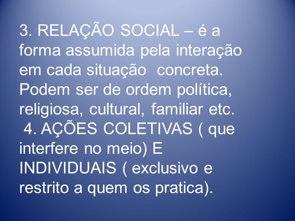 3. RELAÇÃO SOCIAL – é a forma assumida pela interação em cada situação concreta. Podem ser de ordem política, religiosa, cultural, familiar etc. 4. AÇ