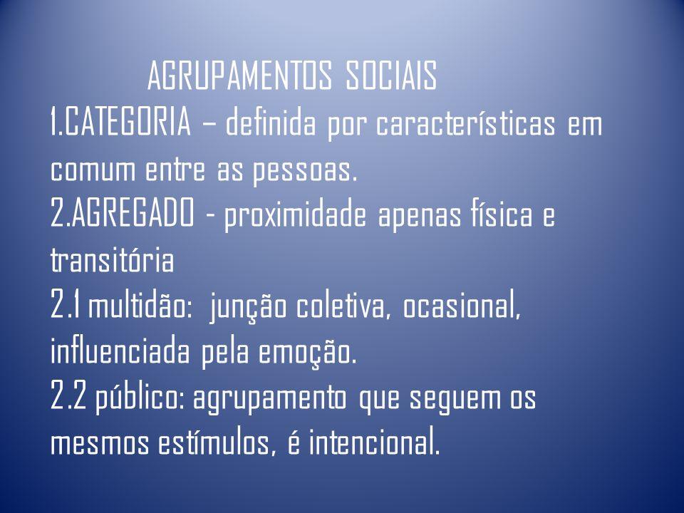 AGRUPAMENTOS SOCIAIS 1.CATEGORIA – definida por características em comum entre as pessoas. 2.AGREGADO - proximidade apenas física e transitória 2.1 mu