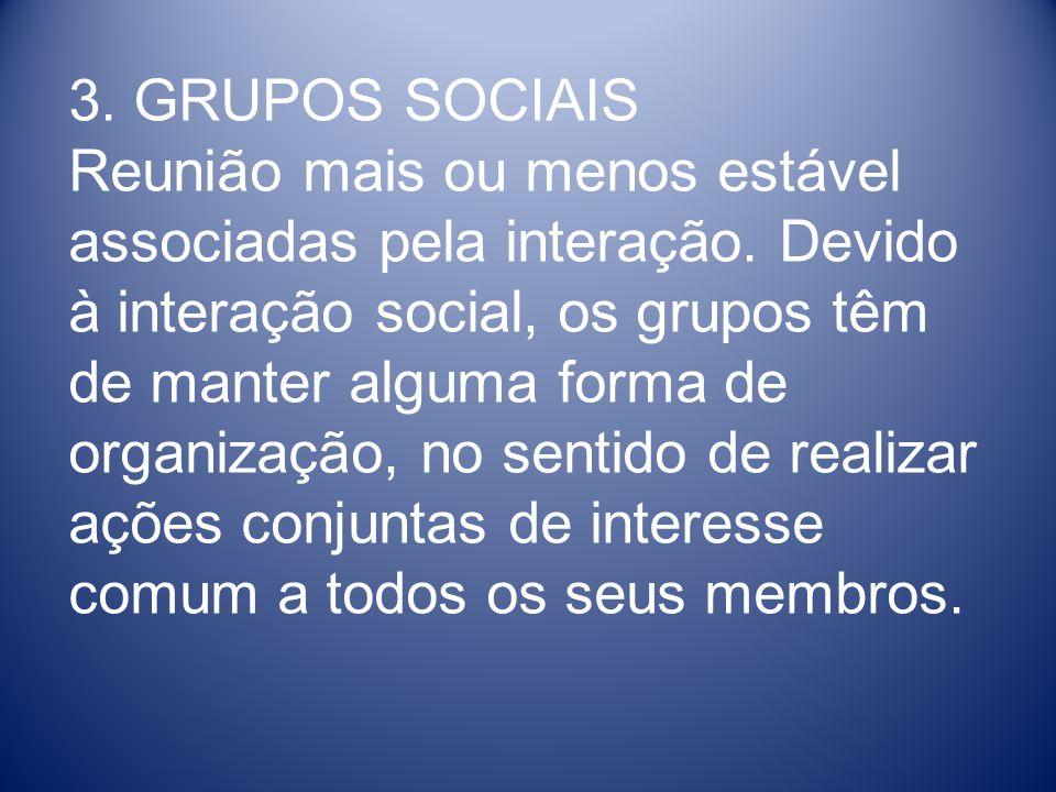 3. GRUPOS SOCIAIS Reunião mais ou menos estável associadas pela interação. Devido à interação social, os grupos têm de manter alguma forma de organiza
