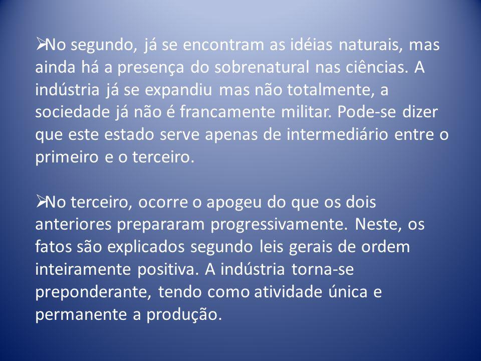 No segundo, já se encontram as idéias naturais, mas ainda há a presença do sobrenatural nas ciências.