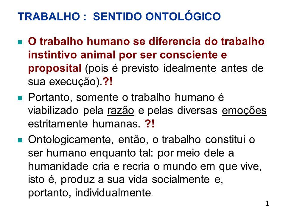 TRABALHO : SENTIDO ONTOLÓGICO O trabalho humano se diferencia do trabalho instintivo animal por ser consciente e proposital (pois é previsto idealment