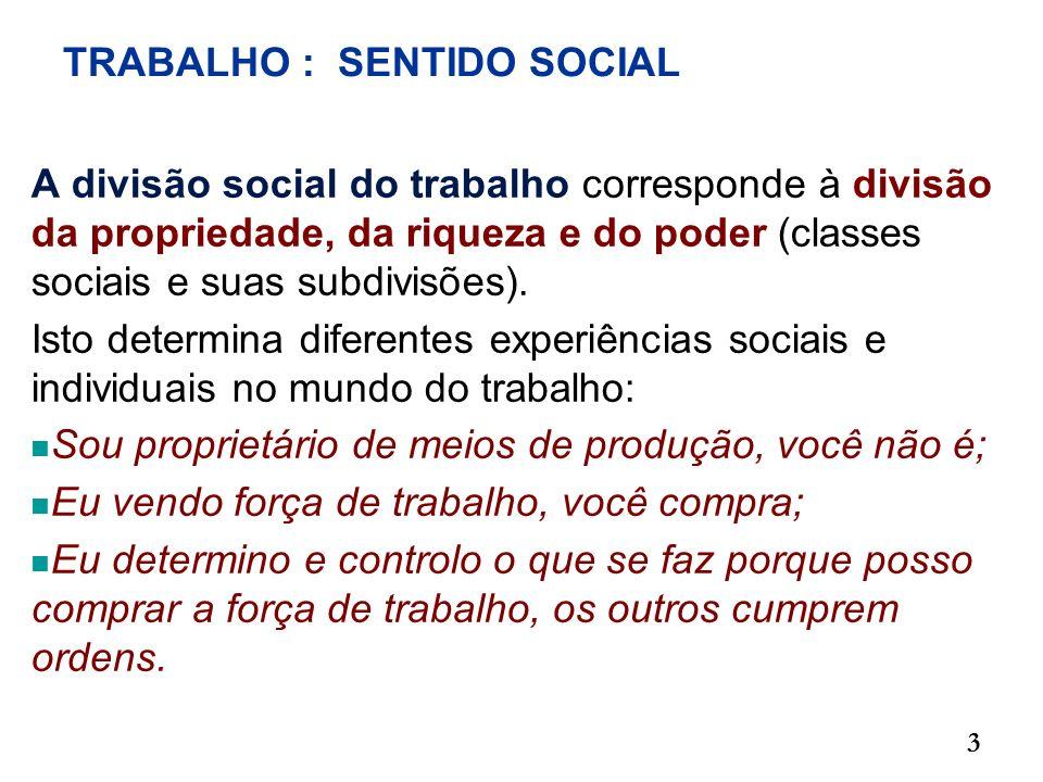 TRABALHO : SENTIDO SOCIAL A divisão social do trabalho corresponde à divisão da propriedade, da riqueza e do poder (classes sociais e suas subdivisões