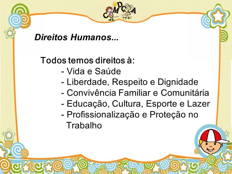 Todos temos direitos à: - Vida e Saúde - Liberdade, Respeito e Dignidade - Convivência Familiar e Comunitária - Educação, Cultura, Esporte e Lazer - P
