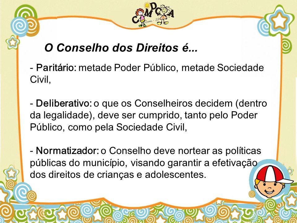 - Paritário: metade Poder Público, metade Sociedade Civil, - Deliberativo: o que os Conselheiros decidem (dentro da legalidade), deve ser cumprido, ta