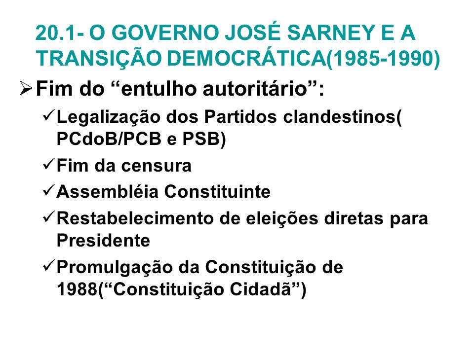 20.1- O GOVERNO JOSÉ SARNEY E A TRANSIÇÃO DEMOCRÁTICA(1985-1990) Fim do entulho autoritário: Legalização dos Partidos clandestinos( PCdoB/PCB e PSB) F