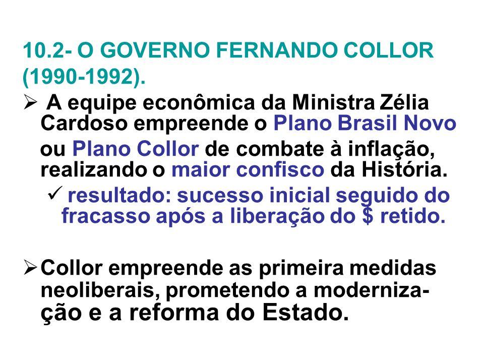 10.2- O GOVERNO FERNANDO COLLOR (1990-1992). A equipe econômica da Ministra Zélia Cardoso empreende o Plano Brasil Novo ou Plano Collor de combate à i