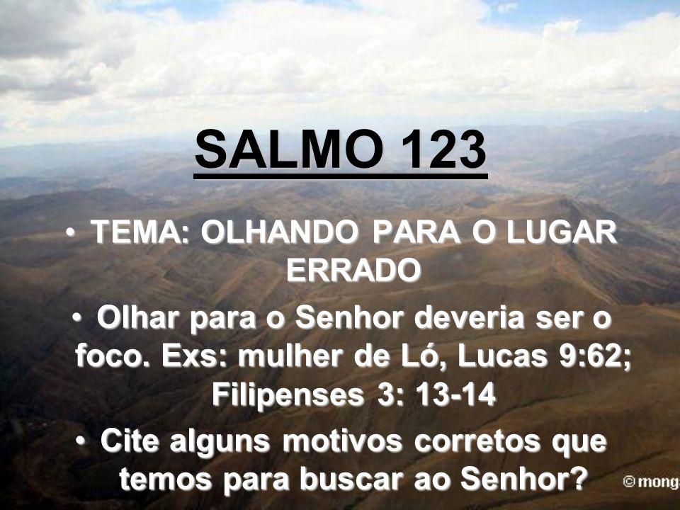 SALMO 123 TEMA: OLHANDO PARA O LUGAR ERRADOTEMA: OLHANDO PARA O LUGAR ERRADO Olhar para o Senhor deveria ser o foco. Exs: mulher de Ló, Lucas 9:62; Fi