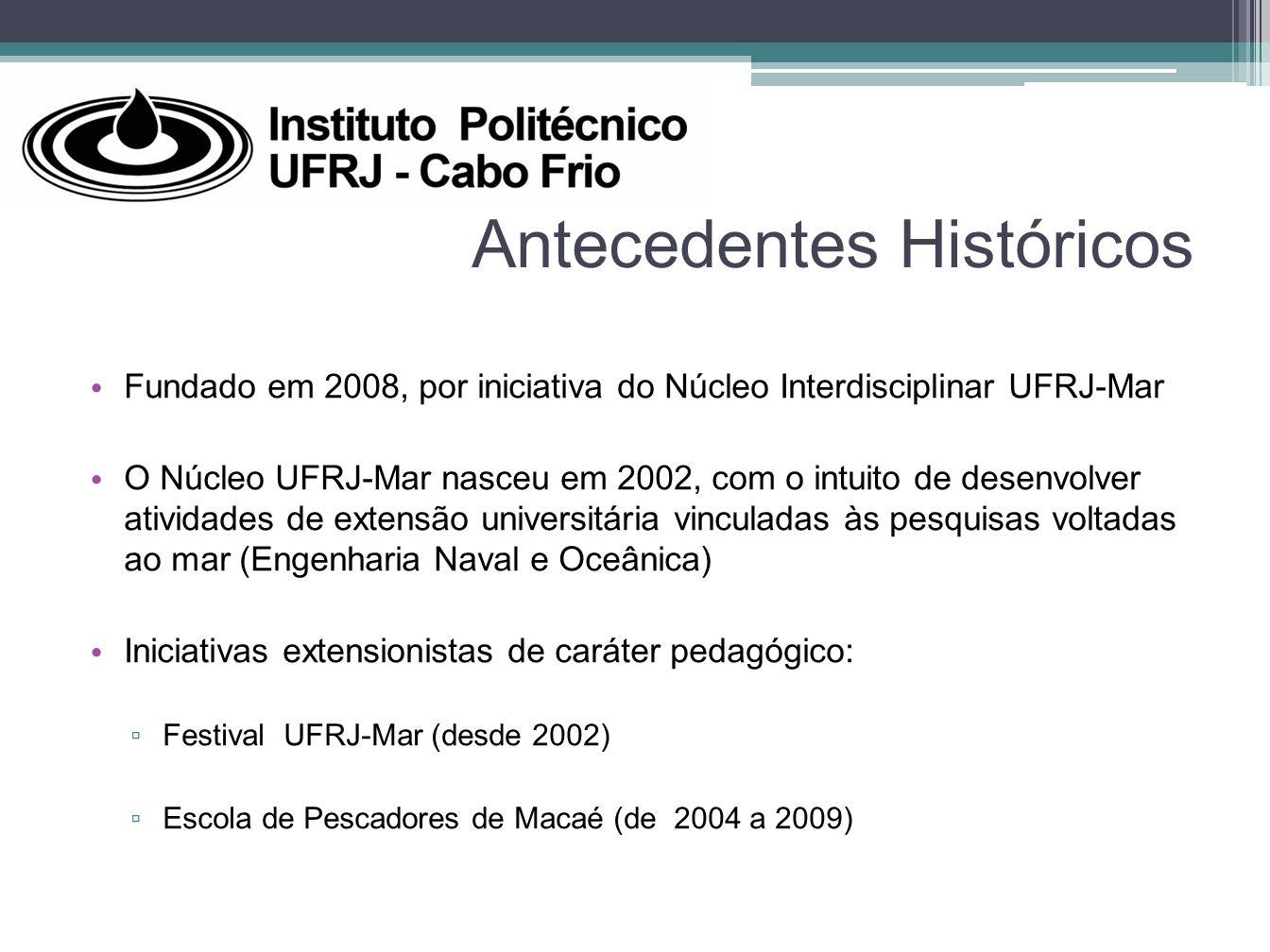 Antecedentes Históricos Fundado em 2008, por iniciativa do Núcleo Interdisciplinar UFRJ-Mar O Núcleo UFRJ-Mar nasceu em 2002, com o intuito de desenvo