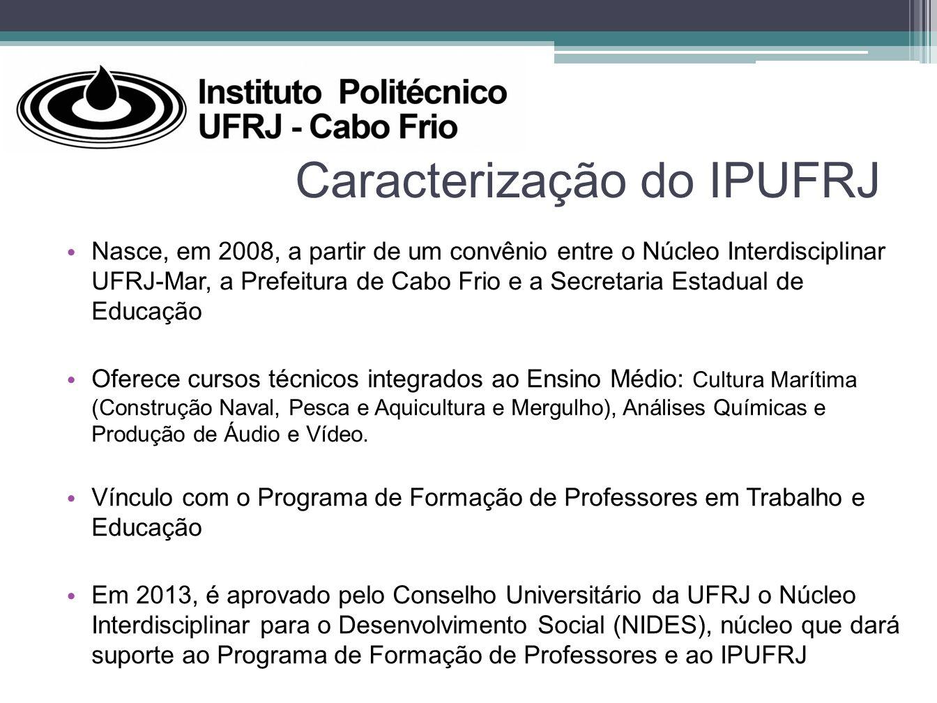 Caracterização do IPUFRJ Nasce, em 2008, a partir de um convênio entre o Núcleo Interdisciplinar UFRJ-Mar, a Prefeitura de Cabo Frio e a Secretaria Es