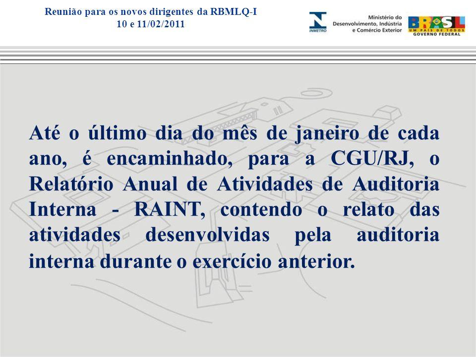 Até o último dia do mês de janeiro de cada ano, é encaminhado, para a CGU/RJ, o Relatório Anual de Atividades de Auditoria Interna - RAINT, contendo o