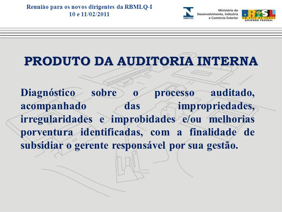 PRODUTO DA AUDITORIA INTERNA Diagnóstico sobre o processo auditado, acompanhado das impropriedades, irregularidades e improbidades e/ou melhorias porv