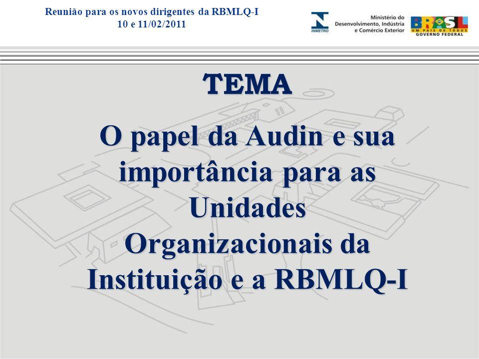 TEMA O papel da Audin e sua importância para as Unidades Organizacionais da Instituição e a RBMLQ-I Reunião para os novos dirigentes da RBMLQ-I 10 e 1