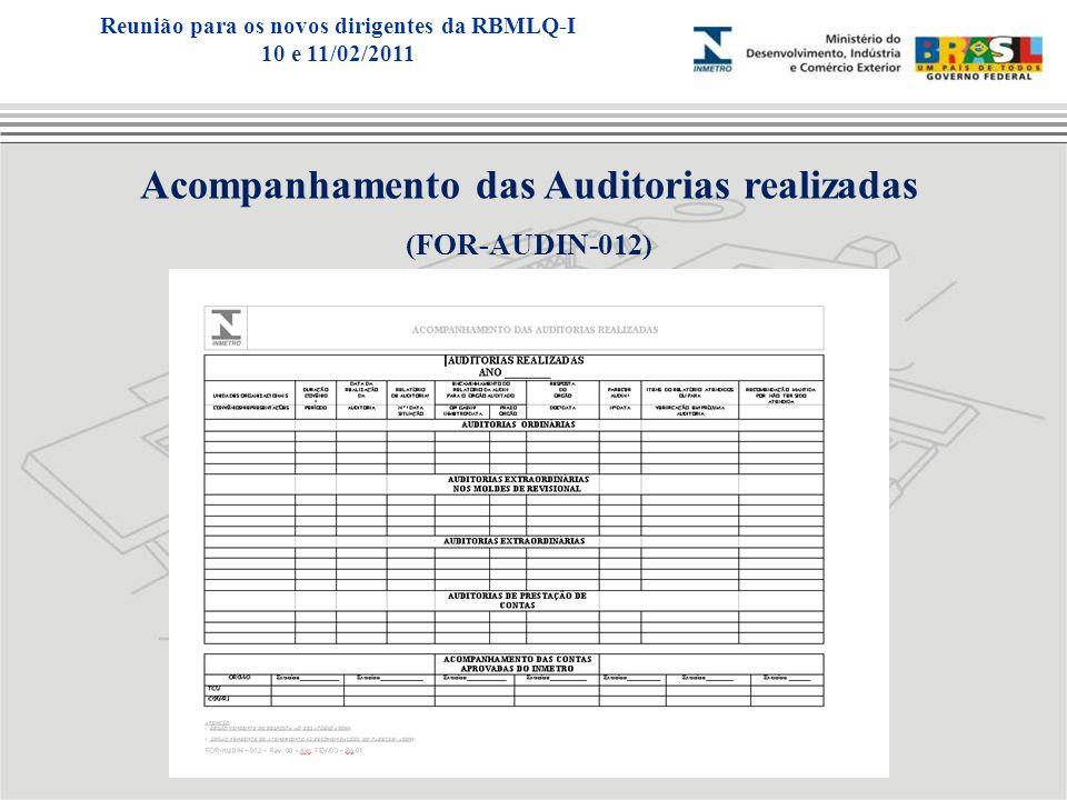 Acompanhamento das Auditorias realizadas (FOR-AUDIN-012) Reunião para os novos dirigentes da RBMLQ-I 10 e 11/02/2011