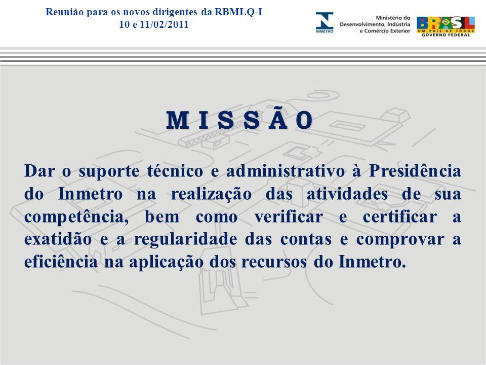 M I S S Ã 0 Dar o suporte técnico e administrativo à Presidência do Inmetro na realização das atividades de sua competência, bem como verificar e cert