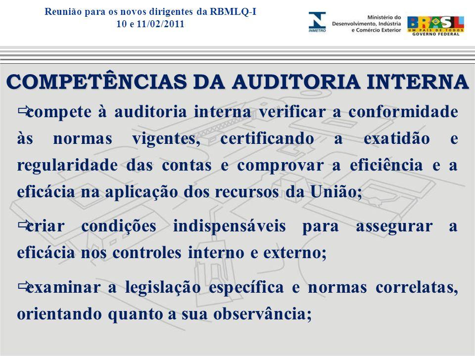 COMPETÊNCIAS DA AUDITORIA INTERNA compete à auditoria interna verificar a conformidade às normas vigentes, certificando a exatidão e regularidade das