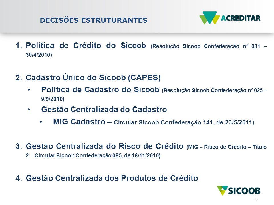10 5.Plataforma de Risco de Crédito - Unificação dos modelos de decisão de crédito (classificação de riscos dos tomadores e das operações; critérios para concessão de limites de crédito) 6.Padronização/Uniformização dos processos de crédito 7.Nova Plataforma de Crédito - ferramentas automatizadas de decisão e condução do crédito (workflow eletrônico, crédito nos canais eletrônicos etc) 8.