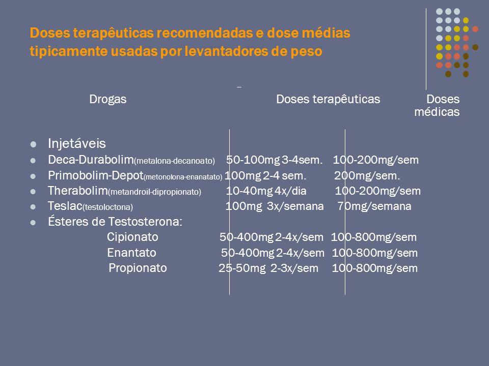 Doses terapêuticas recomendadas e dose médias tipicamente usadas por levantadores de peso Drogas Doses terapêuticas Doses médicas Injetáveis Deca-Dura