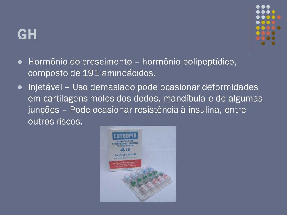 GH Hormônio do crescimento – hormônio polipeptídico, composto de 191 aminoácidos. Injetável – Uso demasiado pode ocasionar deformidades em cartilagens