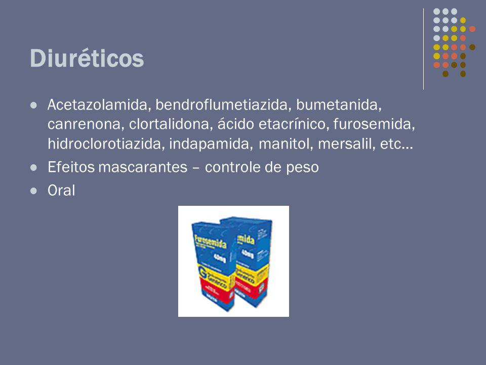 Diuréticos Acetazolamida, bendroflumetiazida, bumetanida, canrenona, clortalidona, ácido etacrínico, furosemida, hidroclorotiazida, indapamida, manito