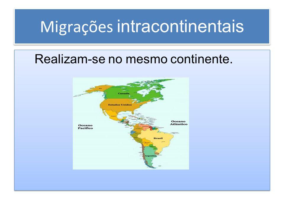 Migrações intracontinentais Realizam-se no mesmo continente. Realizam-se no mesmo continente.