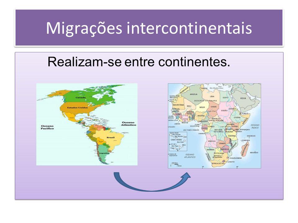 Migrações intercontinentais Realizam-se entre continentes. Realizam-se entre continentes.
