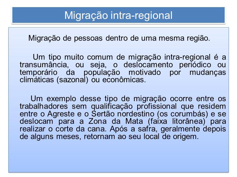 Migração intra-regional Migração de pessoas dentro de uma mesma região. Um tipo muito comum de migração intra-regional é a transumância, ou seja, o de