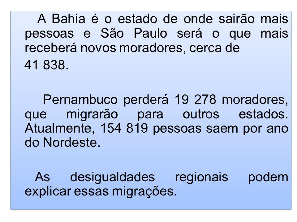 A Bahia é o estado de onde sairão mais pessoas e São Paulo será o que mais receberá novos moradores, cerca de 41 838. Pernambuco perderá 19 278 morado