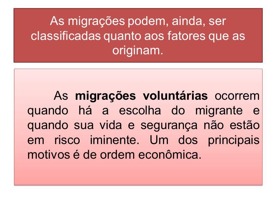 As migrações podem, ainda, ser classificadas quanto aos fatores que as originam. As migrações voluntárias ocorrem quando há a escolha do migrante e qu