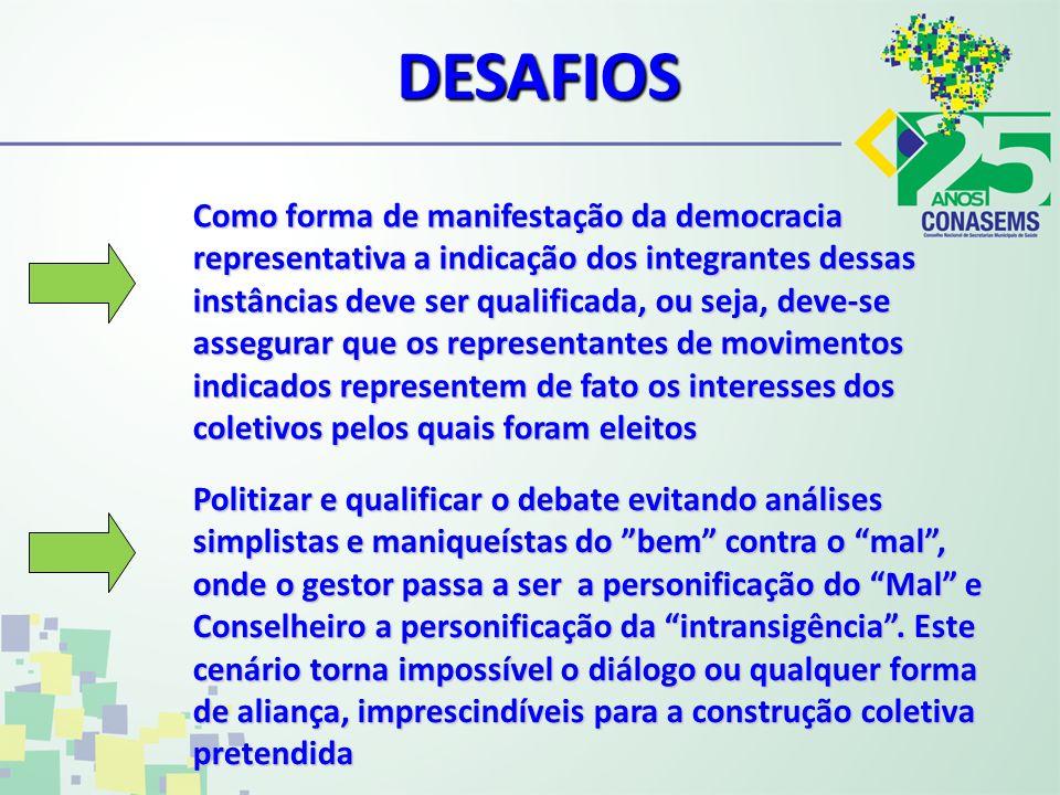 DESAFIOS Como forma de manifestação da democracia representativa a indicação dos integrantes dessas instâncias deve ser qualificada, ou seja, deve-se