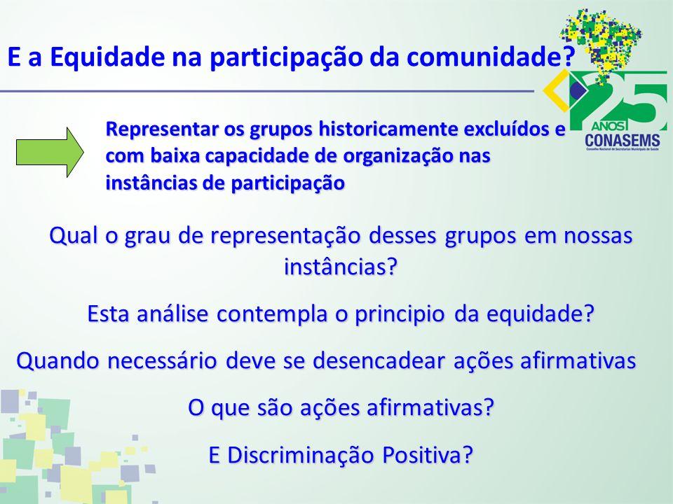 Representar os grupos historicamente excluídos e com baixa capacidade de organização nas instâncias de participação E a Equidade na participação da co