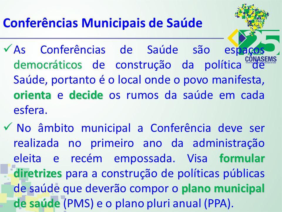 Conferências Municipais de Saúde democráticos orientadecide As Conferências de Saúde são espaços democráticos de construção da política de Saúde, port