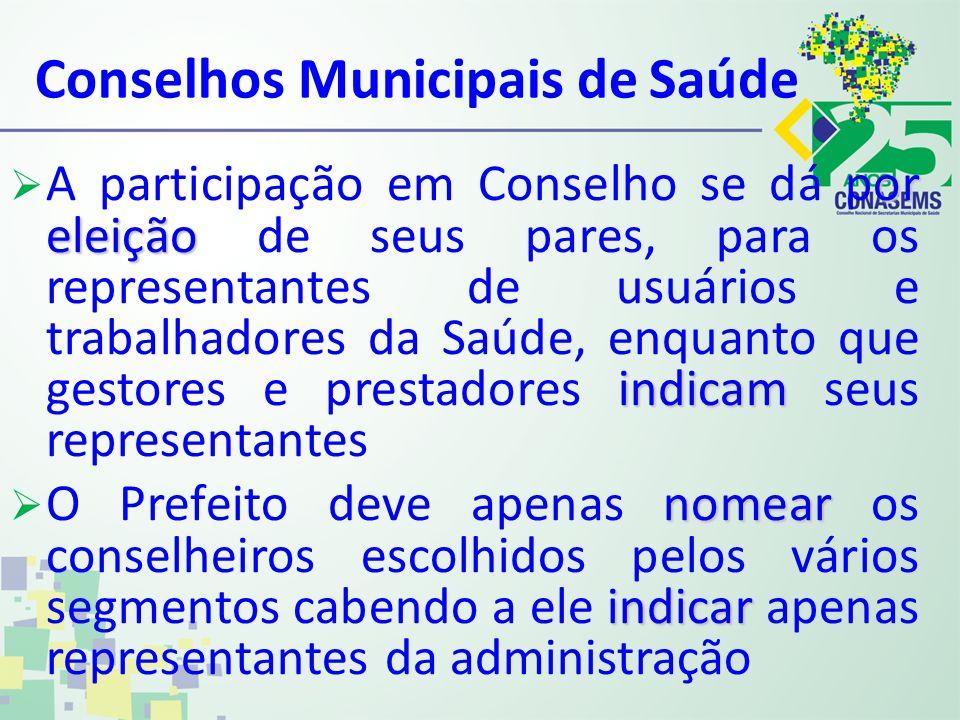 Conselhos Municipais de Saúde or eleição indicam A participação em Conselho se dá por eleição de seus pares, para os representantes de usuários e trab