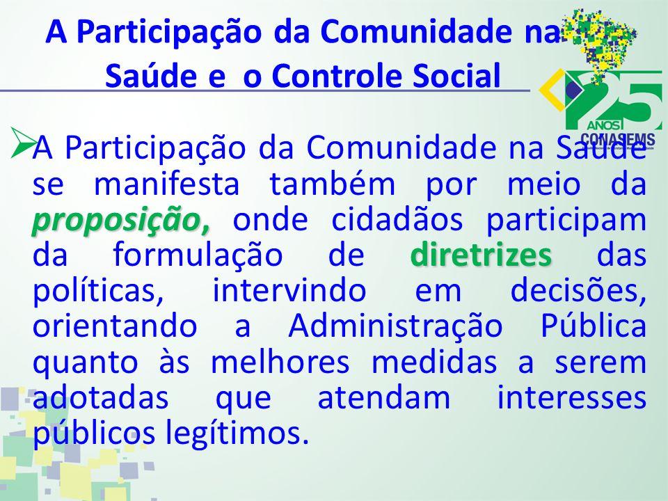 A Participação da Comunidade na Saúde e o Controle Social proposição, diretrizes A Participação da Comunidade na Saúde se manifesta também por meio da