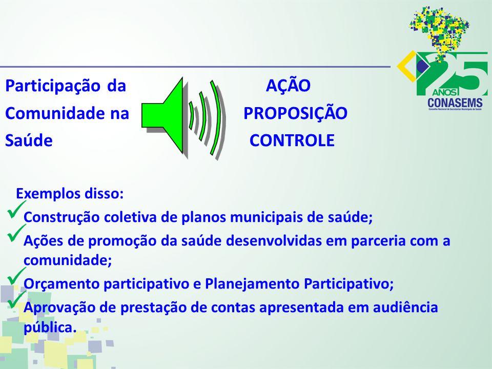 Participação da AÇÃO Comunidade na PROPOSIÇÃO Saúde CONTROLE Exemplos disso: Construção coletiva de planos municipais de saúde; Ações de promoção da s