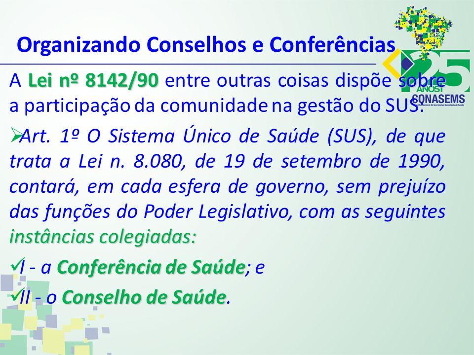 Organizando Conselhos e Conferências Lei nº 8142/90 sobre A Lei nº 8142/90 entre outras coisas dispõe sobre a participação da comunidade na gestão do