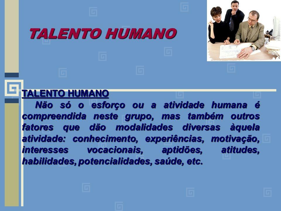 TALENTO HUMANO Não só o esforço ou a atividade humana é compreendida neste grupo, mas também outros fatores que dão modalidades diversas àquela ativid