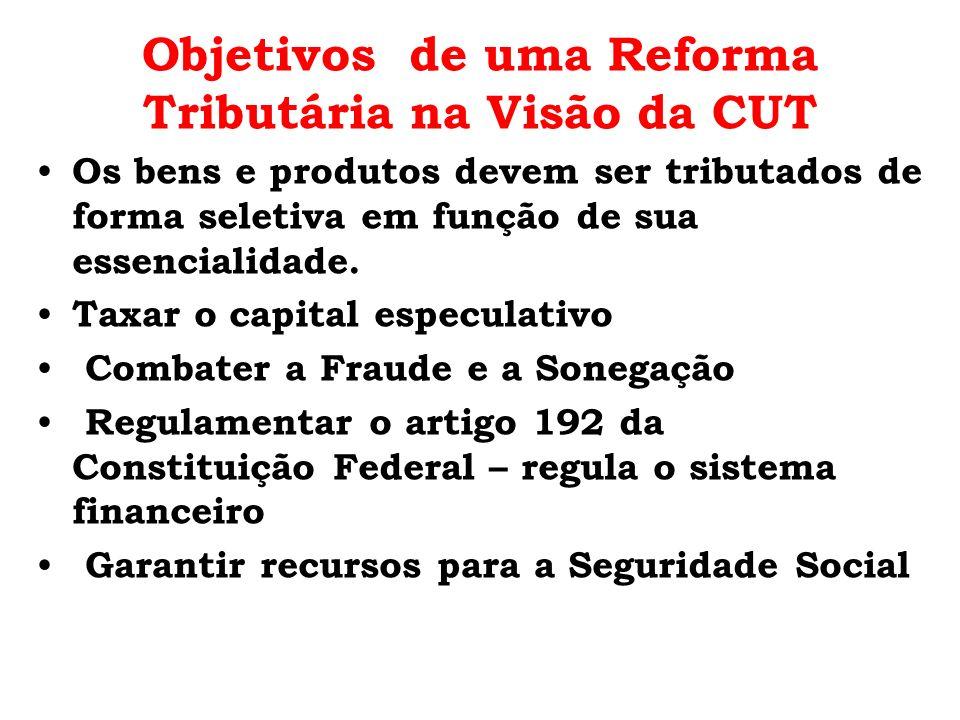 Objetivos de uma Reforma Tributária na Visão da CUT Os bens e produtos devem ser tributados de forma seletiva em função de sua essencialidade. Taxar o