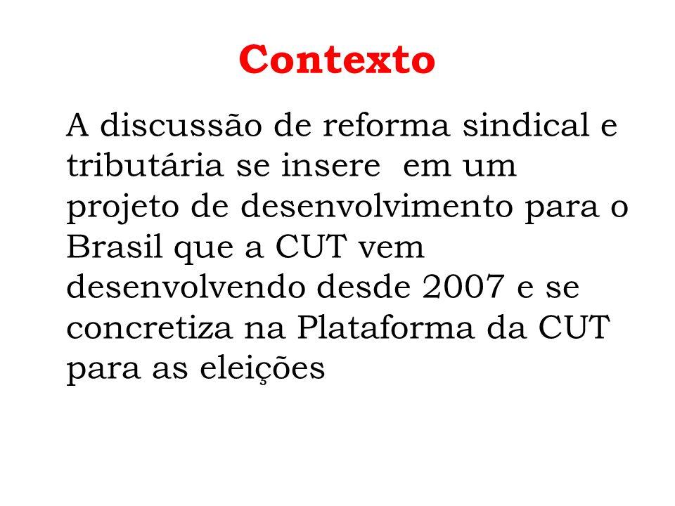 Contexto A discussão de reforma sindical e tributária se insere em um projeto de desenvolvimento para o Brasil que a CUT vem desenvolvendo desde 2007