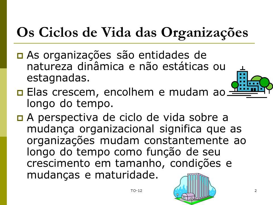 TO-122 Os Ciclos de Vida das Organizações As organizações são entidades de natureza dinâmica e não estáticas ou estagnadas. Elas crescem, encolhem e m