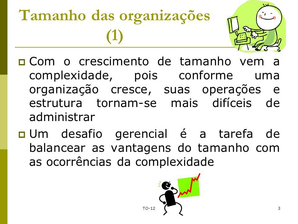 TO-123 Tamanho das organizações (1) Com o crescimento de tamanho vem a complexidade, pois conforme uma organização cresce, suas operações e estrutura