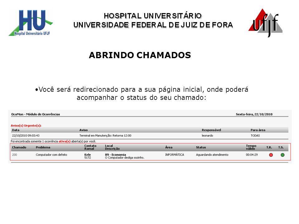 Você será redirecionado para a sua página inicial, onde poderá acompanhar o status do seu chamado: ABRINDO CHAMADOS