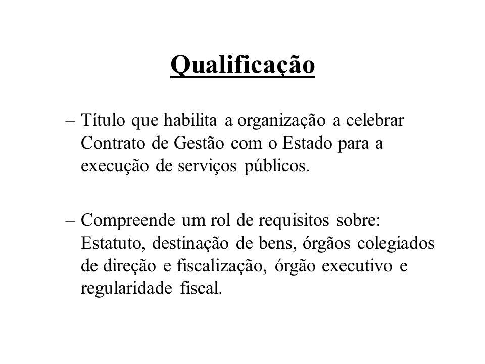 Qualificação –Título que habilita a organização a celebrar Contrato de Gestão com o Estado para a execução de serviços públicos. –Compreende um rol de